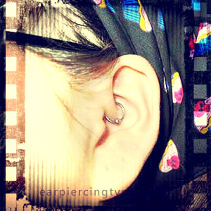 Single Daith ear piercing