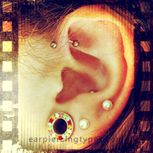 Single forward helix ear piercing