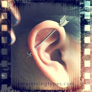 diagonal industrial ear piercing