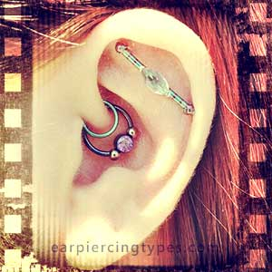 industrial ear piercing is a pair of captive bead rings
