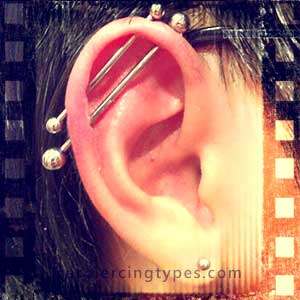 Multiple industrial ear piercing