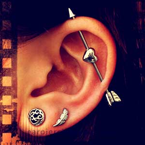 straight industrial ear piercing