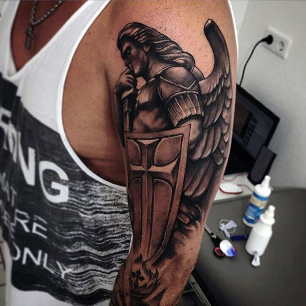 Black White Incredible Powerful Guardian Angel Tattoo Design On Half Sleeve For Men
