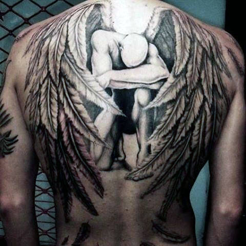 Broken Guardian Angel With Closed Wings Tattoo On Man Full Back
