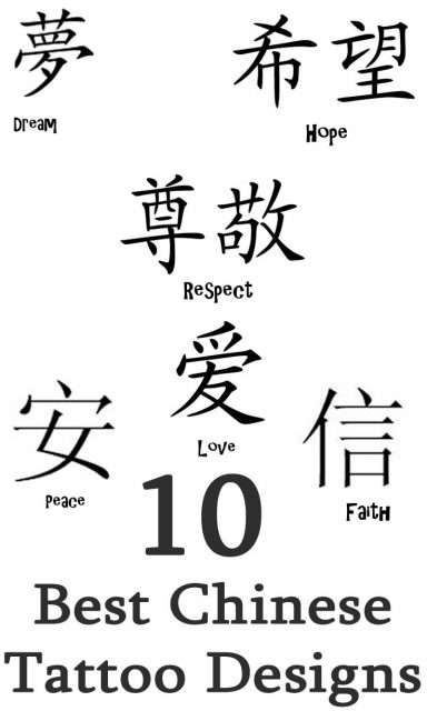 Chinese Characters hieroglyphs Tattoo Designs 5