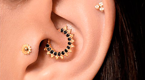 Which parts of ear are safe for piercing?